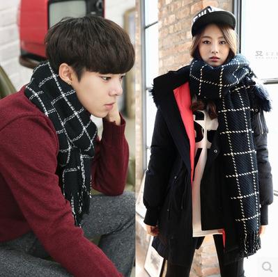 欧美粗毛线秋冬大方形细条纹格子针织加厚女士围巾韩版带流苏披肩