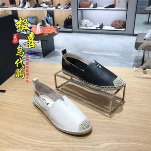 U9D1D 正品 2020春新款 百丽渔夫鞋 U9D1 牛皮平底休闲女单鞋 国内代购