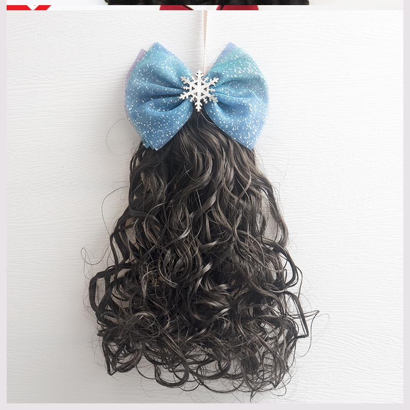Childrens wig headdress princess style fake curly hair girl lovely long curly hair new type of childrens natural horsetail hairpin