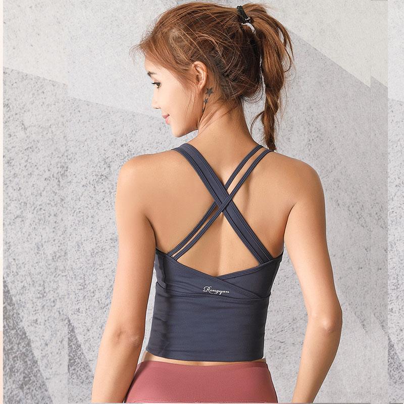 紧身背心式运动内衣女聚拢美背文胸专业跑步防震齐腰健身瑜伽背心