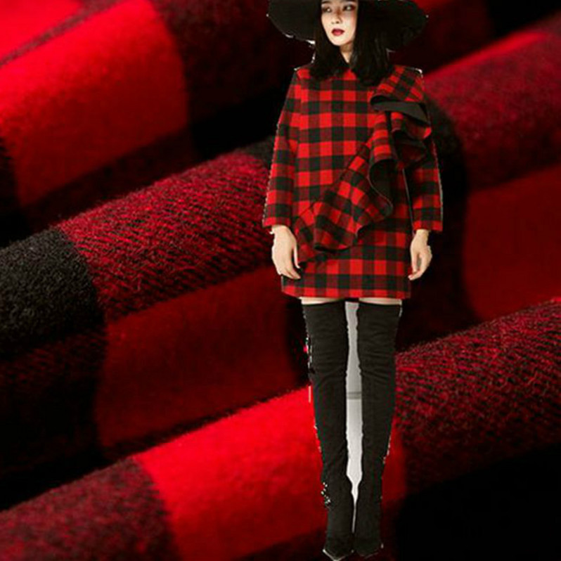 Imported Plaid woolen cloth for overcoat, coat, trousers, dress