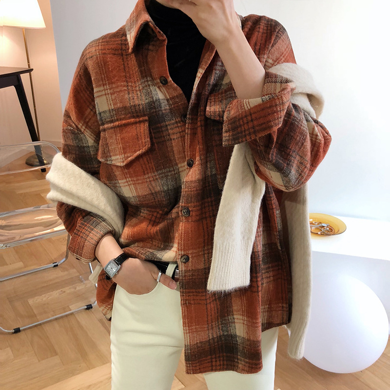 Plaid Shirt womens autumn and winter 2020 New Retro Hong Kong Style Long Sleeve thickened frosted loose net red shirt coat