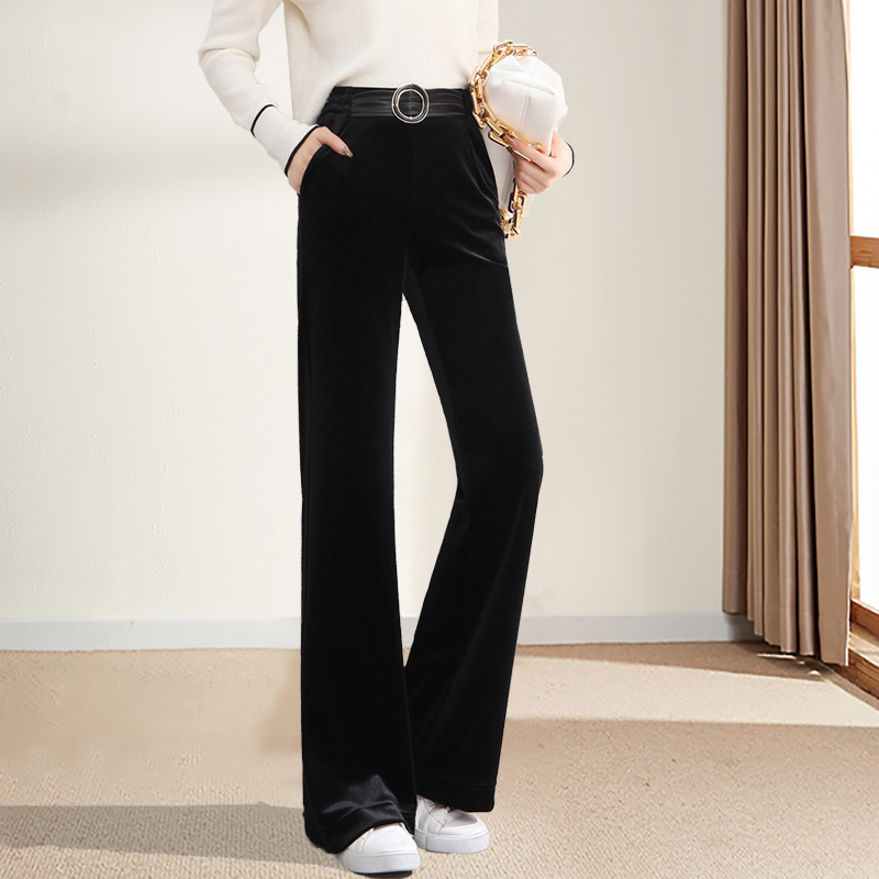 Cashmere wide leg pants womens spring and autumn sagging feeling high waist black micro bell pants loose thin belt casual pants