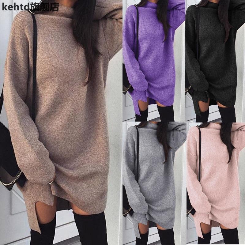 Women winter knitted dress loose turtleneck long sweater