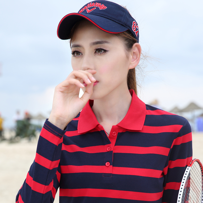 2020 new striped polo shirt womens long sleeve Lapel show thin cotton top casual sports womens T-shirt