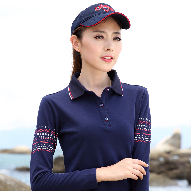 Long sleeve T-shirt womens pure cotton middle aged leisure sports national style slim and slim womens T-shirt with lapel collar