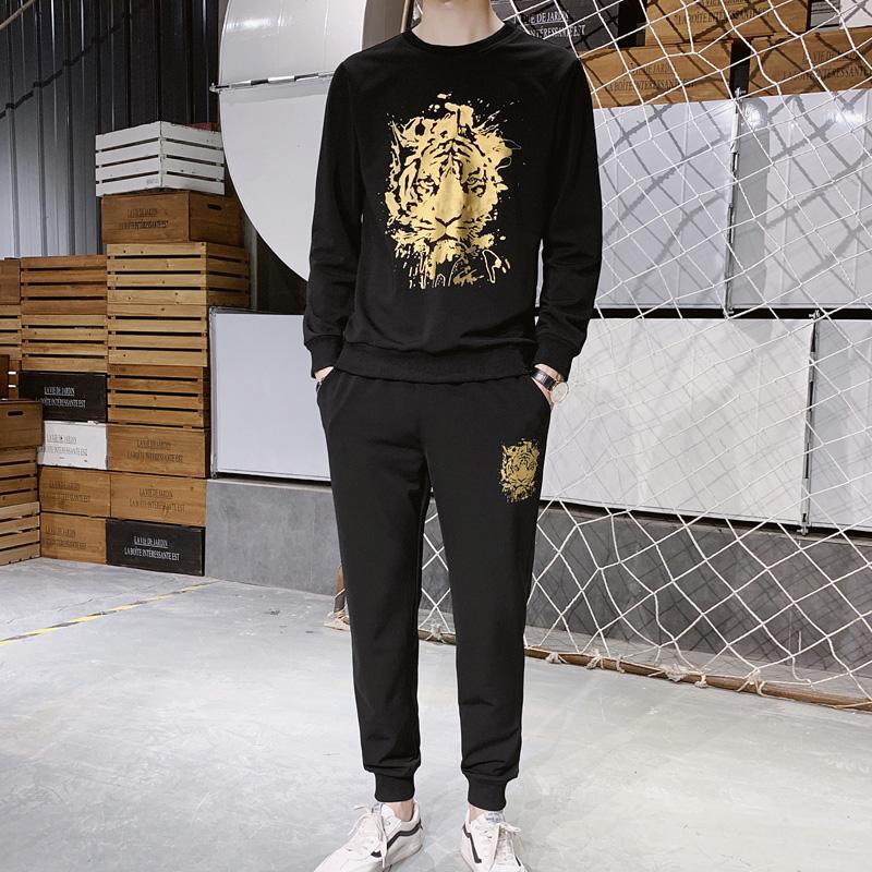 完美西休闲运动套装男款圆领印花长袖卫衣运动裤两件套运动服潮