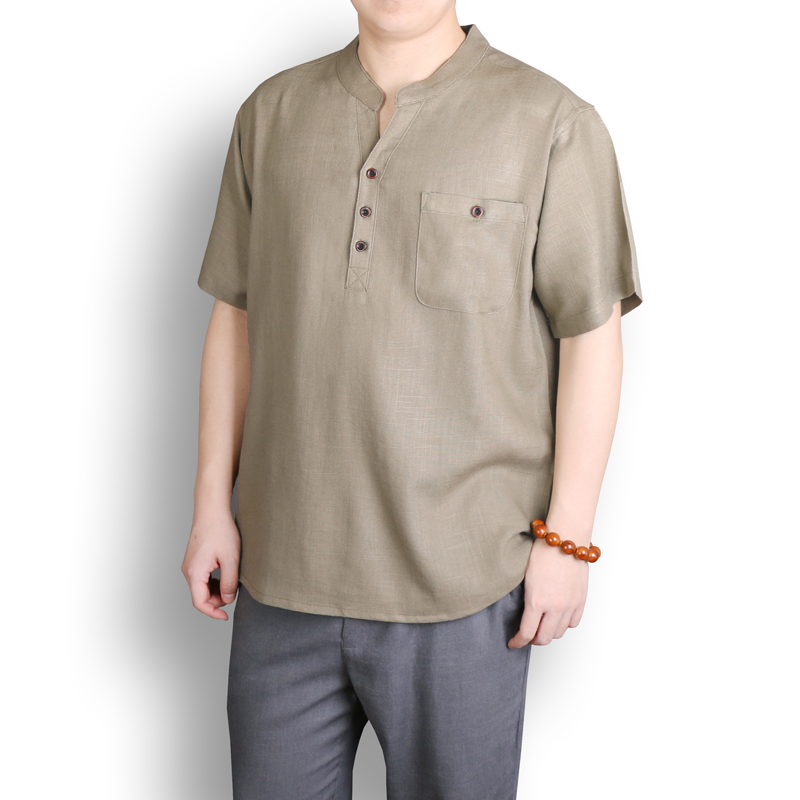 Collection Chinese style summer thin mens cotton and linen short sleeve T-shirt Chinese retro loose large linen short sleeve