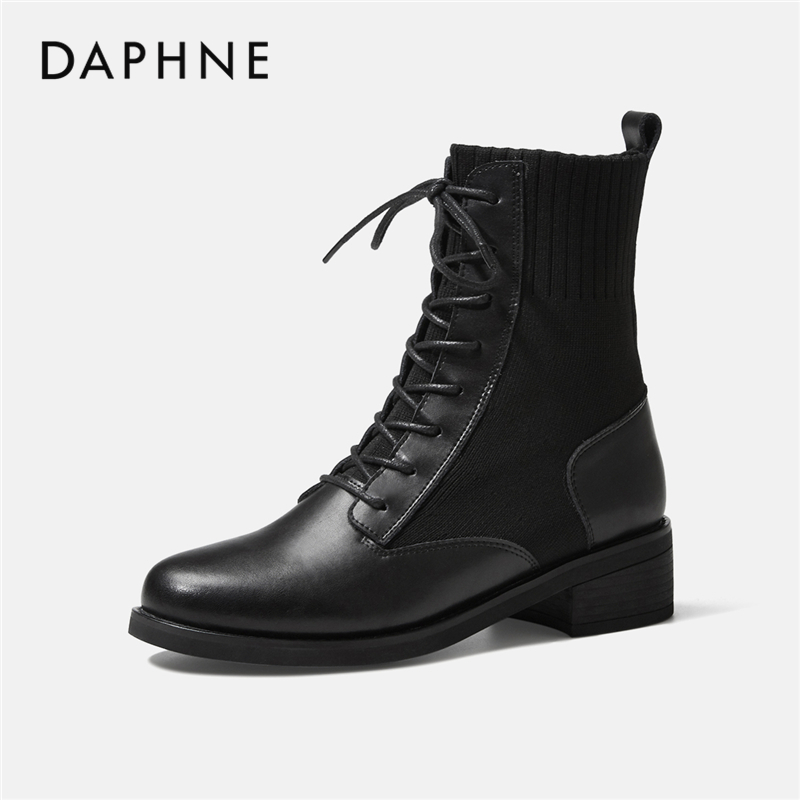 Daphne Martin boots female British style 2020 new all-match black leather thin boots short boots show cool feet