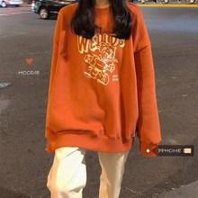 PPHOME初秋显白南瓜色MTM~韩系学院少女可爱卡通印花宽松加绒卫衣