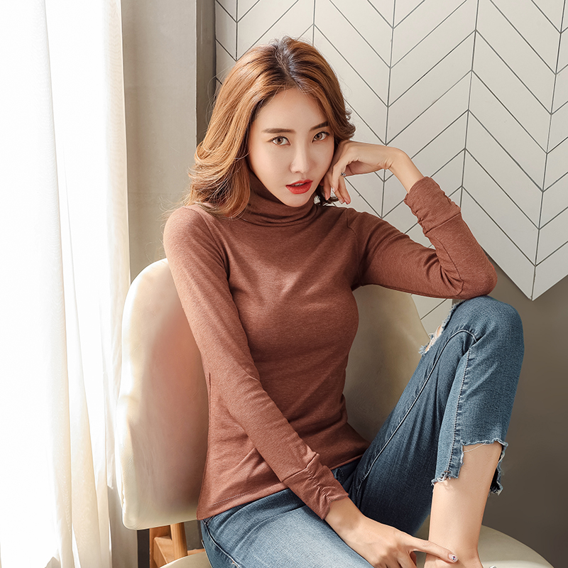 Bottoming shirt autumn winter womens 2019 new slim and thickened Plush warm high collar long sleeve T-shirt with foreign style