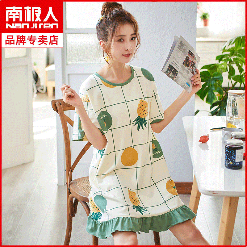 Antarctic nightdress womens summer cotton short sleeve princess style thin style very fairy lovely sexy dress can be worn outside