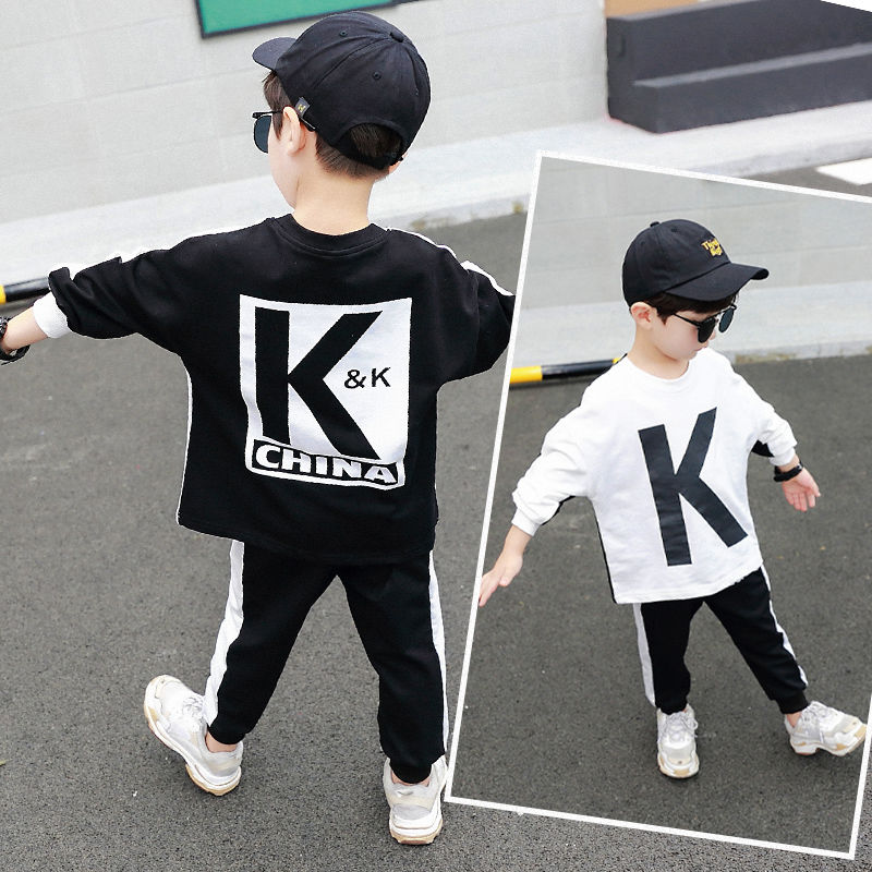 Li Xian the same KK team uniform long sleeve childrens wear dear love boys autumn suit two piece fashion