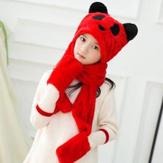 韩版刺绣加绒冬天儿童围巾帽子手套三件套装一体男女童护耳帽围脖