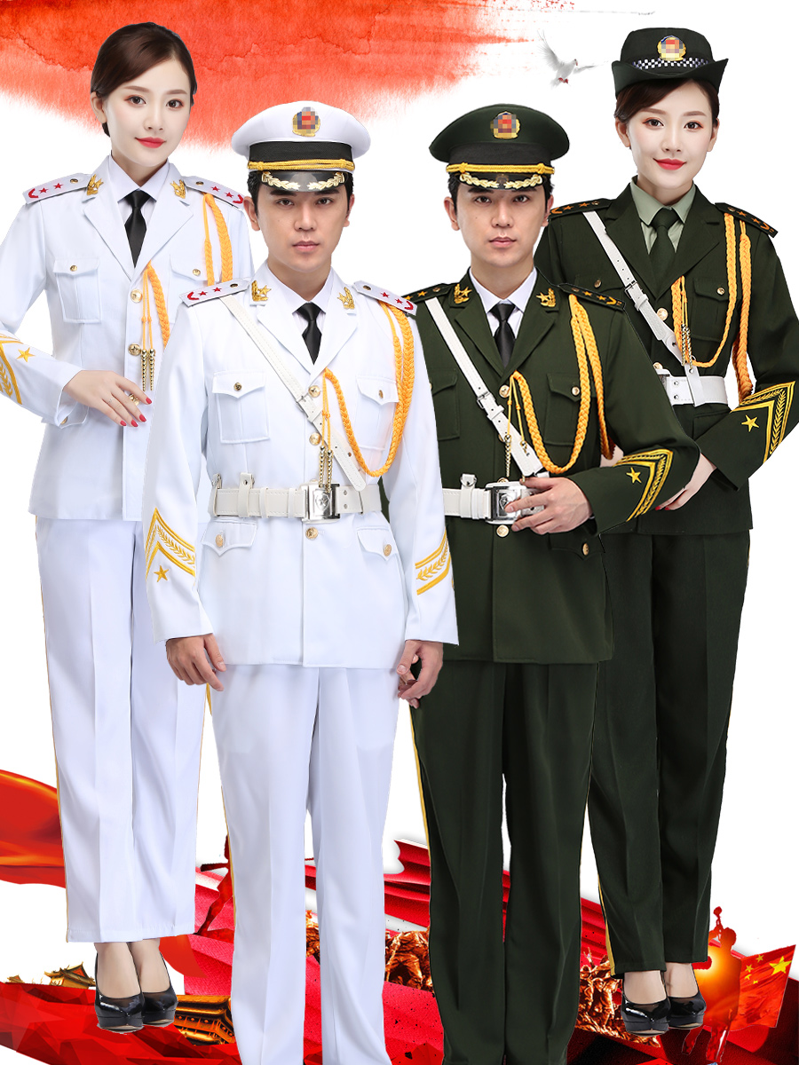 Flag raisers clothing student national flag class military band men and womens military uniform performance Uniform Adult three service honor guard dress