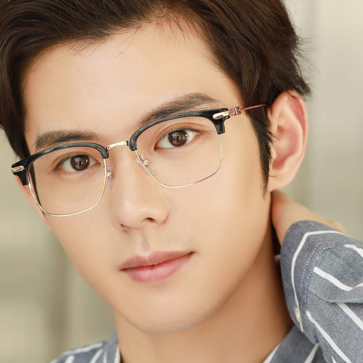 新款近视眼镜男复古纯钛全框眼睛框镜架成品配有度数眼镜近视镜潮