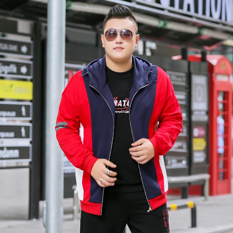 Fat mens color matching large mens autumn jacket jacket mens fat plus large casual coat fat mans baseball uniform fashion