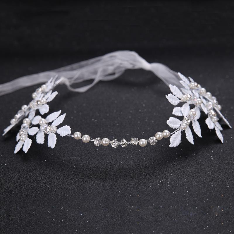 热销外贸新娘手工珍珠头饰 白色叶子婚纱礼服配饰发带 新娘饰品