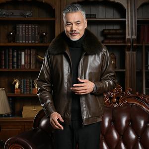 冬季爸爸装中老年40-50岁皮衣外套中年男士冬装加绒加厚款皮夹克B