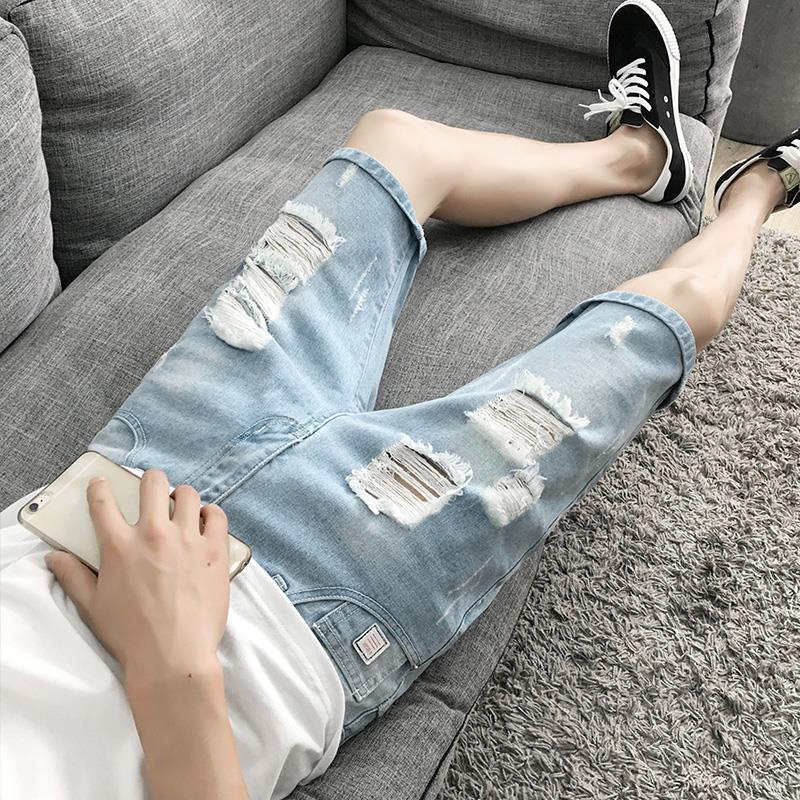 牛仔短裤男夏季五分裤男簿款修身破洞牛仔裤韩版修身5分乞丐裤男
