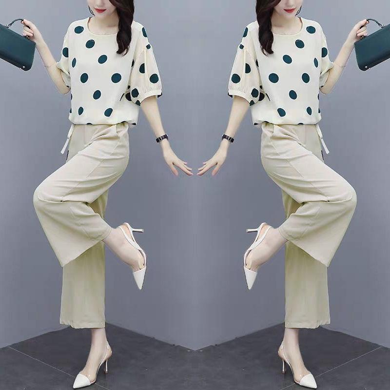 2021春夏新款韩版套装女减龄波点时尚显瘦雪纺衫阔腿裤女两件套男