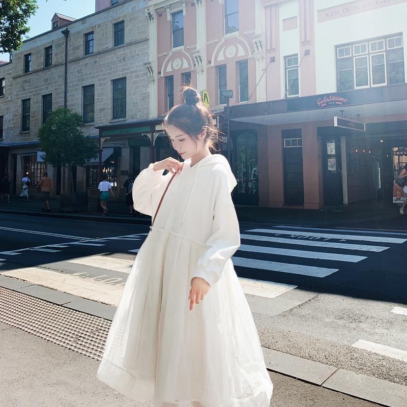 连衣裙女春秋2019甜美气质季学生清新早秋裙子仙女超仙森系卫衣裙有赠品