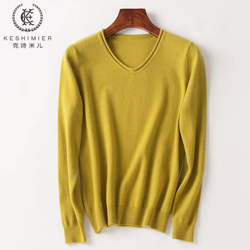 Cashmere sweater female V-neck bottomed commuter sweater 100 cashmere curled edge chicken heart collar small sweater pure cashmere bottomed sweater female