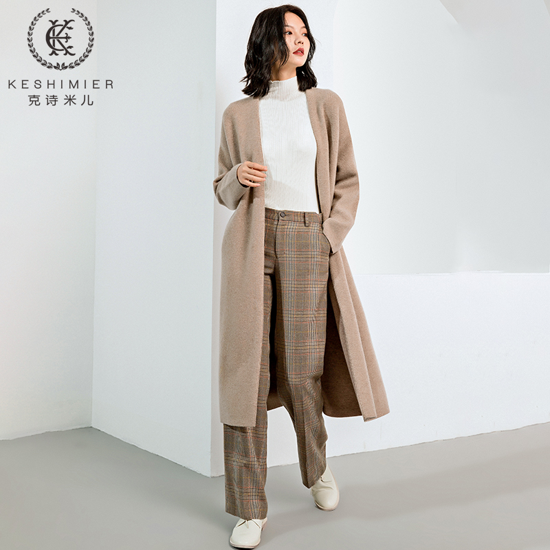 Cashmere Cardigan Sweater Jacket Womens long style over the knee thickened pure cashmere V-neck over button loose knitted cardigan