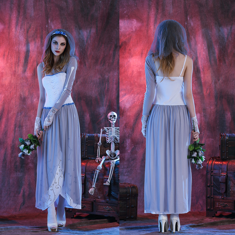 Halloween role play white zombie ghost Bride Costume Ghost Festival costume ball costume nightclub stage performance Costume