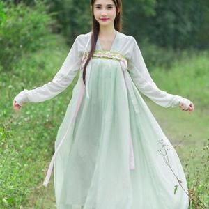 古装服装中国风汉服女仙女飘逸日t常改良襦裙对襟齐胸绣花清新淡