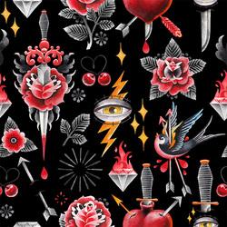 黑暗之花纹身水彩图案PNG 复古装饰T恤墙绘抽象艺术图形设计素材