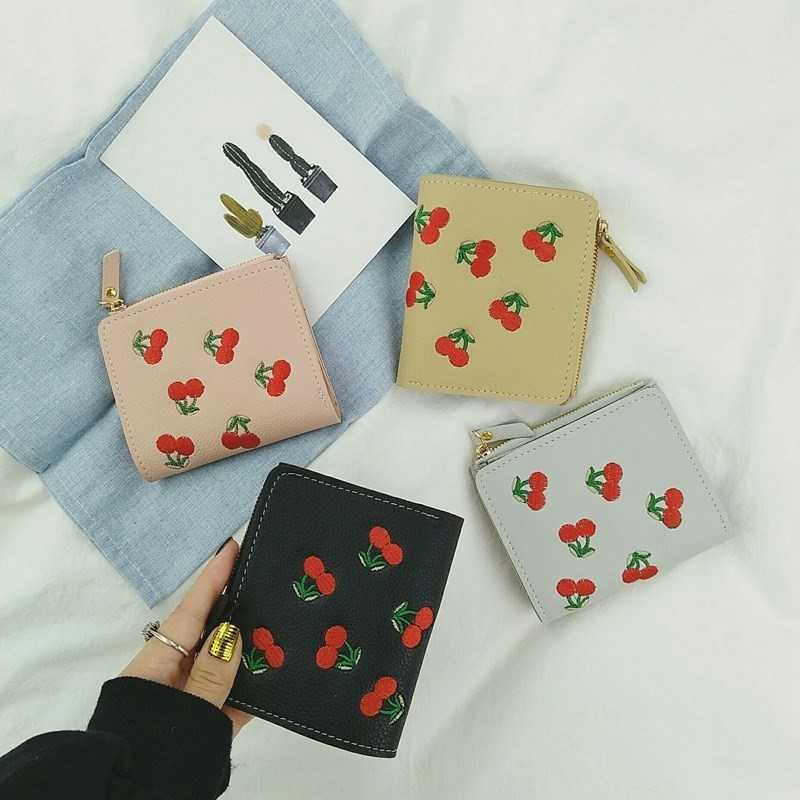 Change card bag embroidery two womens short Wallet Zipper folding two ultra thin womens both