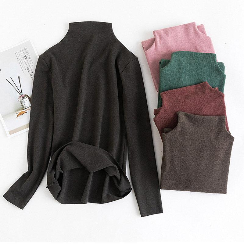 韩国阳离子打底衫自发热半高领德绒纯色保暖衣秋冬弹力针织衫女