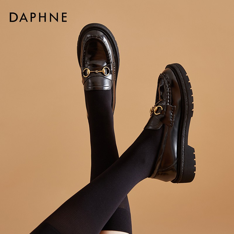 Daphne black small leather shoes female British style 2020 new autumn all-match mid-heel platform loafers women flat bottom
