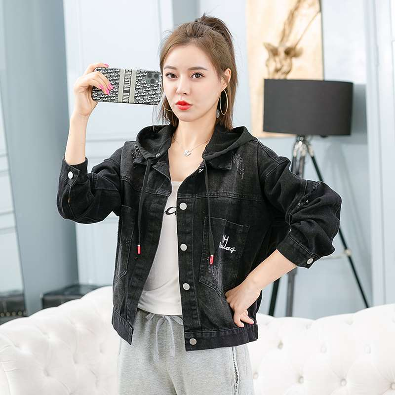 Heavy industry Sequin Jeans Jacket Women 2020 new detachable hooded casual top retro fashion jacket autumn
