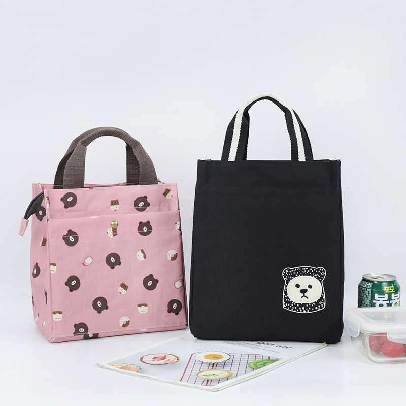 Heat preservation lunch box bag thickened aluminum foil canvas portable large capacity work belt rice round tube bag hand carry Lunch Bag