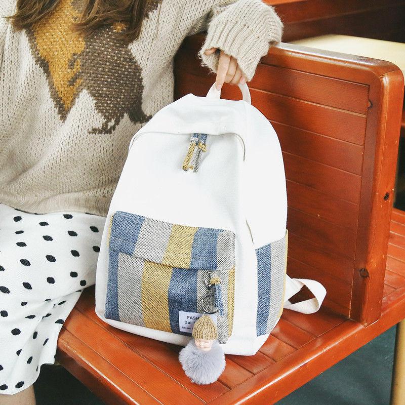 Schoolbag female student Korean version campus Yuansu junior high school ins backpack 2019 new simple Canvas Backpack