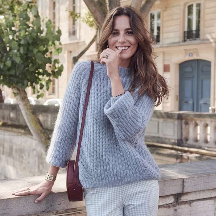 Autumn and winter 2020 French languid Wool Mohair blended coarse wool knitting Pullover Sweater womens sweater