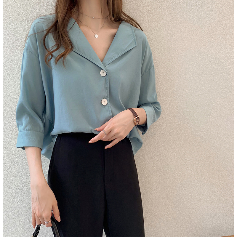 3 summer new fashion temperament solid color shirt womens loose and fairy top foreign style shirt bottoming fashion