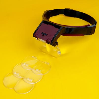 Wearing magnifying glass with LED light glasses for the elderly and children reading electronic maintenance electronic circuit clock and watch micro carving