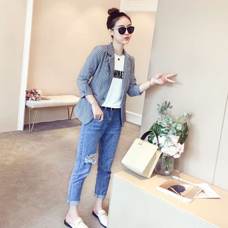 2019 new autumn stripe 7 / 4 sleeve spring and autumn small suit thin womens suit coat top with suit women