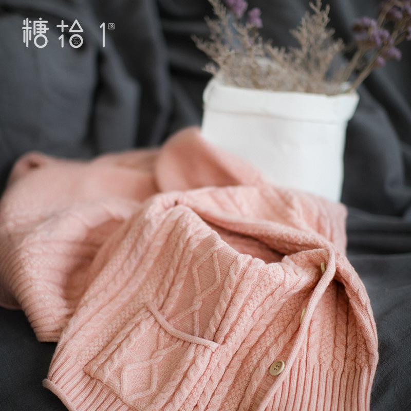 Tangxi early autumn 2019 vintage champagne Short Knitwear single breasted simple cardigan sweater coat