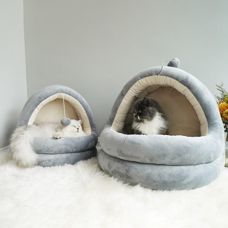 猫窝四季通用冬季保暖小型泰迪狗窝半封闭网红深度睡眠窝宠物用品