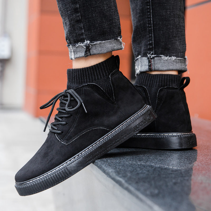 Autumn British style frosted suede leather high help Work Boots Mens pure black trend elastic sock mouth flat shoes
