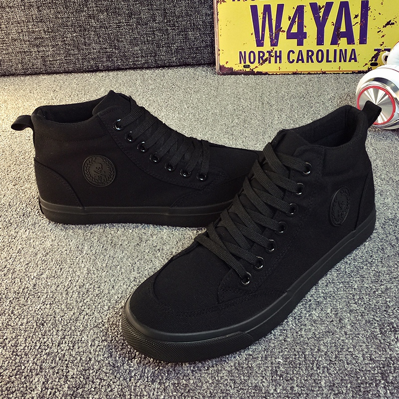 With jeans spring mens medium tube high top flat bottom sports shoes youth Korean high waist Black Canvas boots