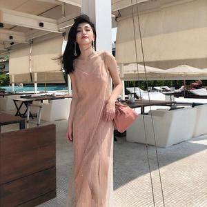山本法式复古甜美仙女吊带裙很仙法国小众超仙网纱连衣裙过膝长裙