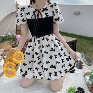泡泡袖夏季2021新款微胖mm连衣裙