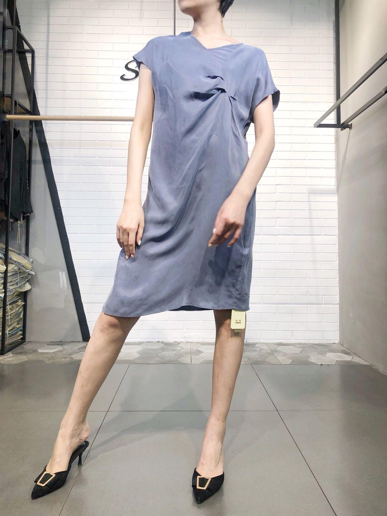 SUMA定制 设计师皱褶不规则高腰棉麻绸缎连衣裙 中长款A字