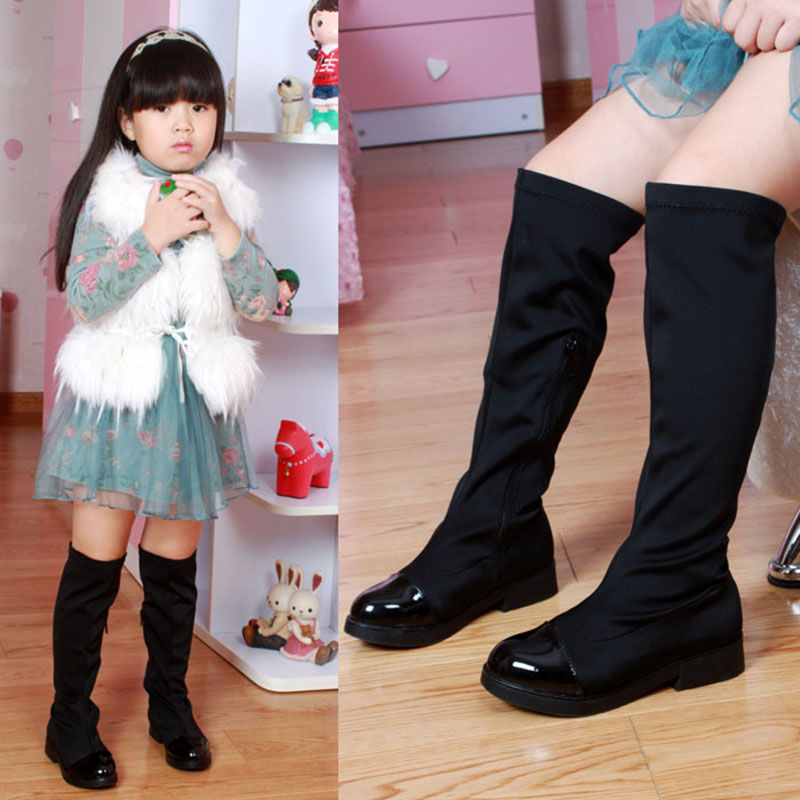 Childrens shoes autumn and winter Korean girls boots childrens elastic cloth knee high top single boots leisure high tube cotton boots
