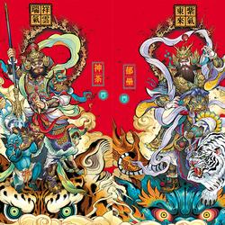 门神门贴2021新年春节大门装饰新居门神贴纸神荼郁垒防盗门过年画